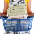 Maid With Basket of Towels — Stock Photo