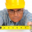 Construction Worker with Tape Measure — Stock Photo
