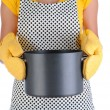 Royalty-Free Stock Photo: Housewife Holding Large Pot