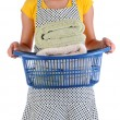 Housewife Holding a Laundry Basket of Towels — Stock Photo #26851853