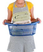 Housewife Holding a Laundry Basket of Towels — Stock Photo