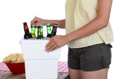 Woman Taking Beer From Ice Chest — Stock Photo