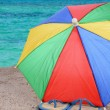 Flip-Flops and Beach Umbrella — Stockfoto
