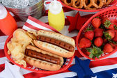 Hot Dogs on 4th of July Picnic Table — Stock Photo