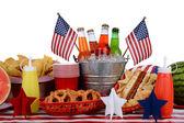 Tema de quatro de julho de mesa de piquenique — Foto Stock
