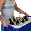 Young Man Carrying Beer Cooler — Stock Photo