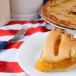 Slice of fruit Pie on Flag Table Cloth — Stock Photo