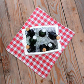 Ice Chest Full of Beer on a Table Cloth on a Wood Deck — Stock Photo