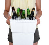 Woman Carrying Beer Cooler — Stock Photo
