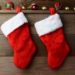 Two Christmas Stockings — Stockfoto