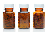 Three Brown Medicine Bottles With Different Drugs — Stock Photo