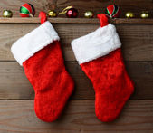 Two Christmas Stockings — Stock Photo