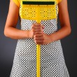 Stock Photo: WomHolding Mop