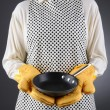Stock Photo: WomHolding Frying Pan