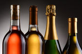 Four Wine Bottles Backlit — Stock Photo