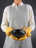 Woman Holding a Frying Pan — Stock Photo