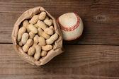 Baseball and a Bag of Peanuts — Stock Photo