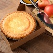 Apple Pie with Fresh Apples on Wood Table — Stock Photo