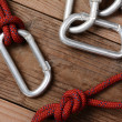 Rope and Carabiners — Stock Photo