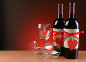 Wine Bottles Decorated For Valentines Day — Stock Photo