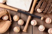 Baseball Gear on Rustic Wood Surface — Stock Photo