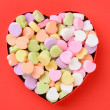Heart Shaped Box with Valentines Candy — Stock Photo