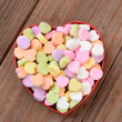 Heart Shaped Box with Valentines Candies — Stock Photo