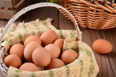 Basket of Brown Eggs — Stock Photo