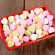 Red Bowl with Valentines Candies — Stock Photo