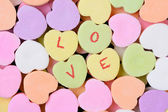 Candy Hearts Macro With LOVE Spelled Out — Stock Photo