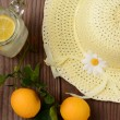 Fresh Squeezed Lemonade and Yellow Sun Hat — Stock Photo #40560235