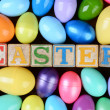 Easter Blocks and Plastic Eggs — Stock Photo