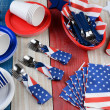 Picnic Table Setting Fourth of July — Stock Photo #44003457