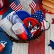 Picnic Table Ready For Fourth of July Party — Stock Photo #44003459