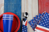 Fourth of July Picnic Table Setting — Stock Photo