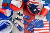 Picnic Table Setting Fourth of July  — Stock Photo