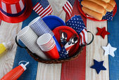 Picnic Table Ready For Fourth of July Party — Stock Photo