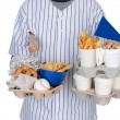 Sports Fan Carrying Food Drinks and Souvenirs — Stock Photo #44781319