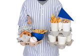 Sports Fan Carrying Food Drinks and Souvenirs — Stock Photo
