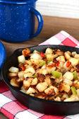 Closeup Breakfast Potatoes in Skillet — Stock Photo