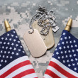 American Flags and Dog Tags — Stock Photo