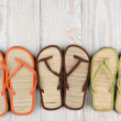Beach Sandals on Wood Deck — Stock Photo #47807671