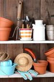 Potting Shed Shelves — Stock Photo