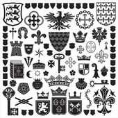 Heraldische symbolen en decoraties — Stockvector