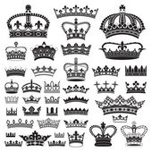 CROWNS Antique and decorative — Stock Vector