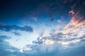 Bue sky with clouds closeup , sunset — Foto Stock