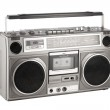 Retro ghetto blaster isolated on white with clipping path — Stock Photo
