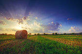 Sunset field, tree and hay bale made by HDR — Zdjęcie stockowe