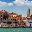 A leaning bell tower in Venice, Italy — Stock Photo #51256343