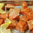 Stock Photo: Marinated salmon shashlik